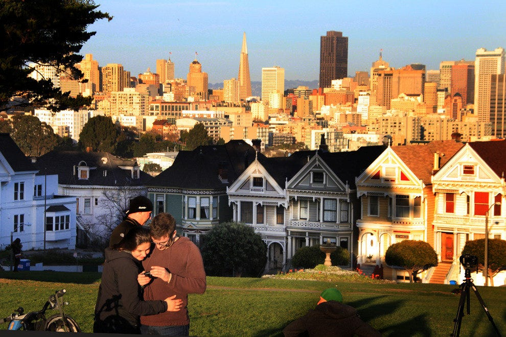 View of San Francisco Skyline from Alamo Square