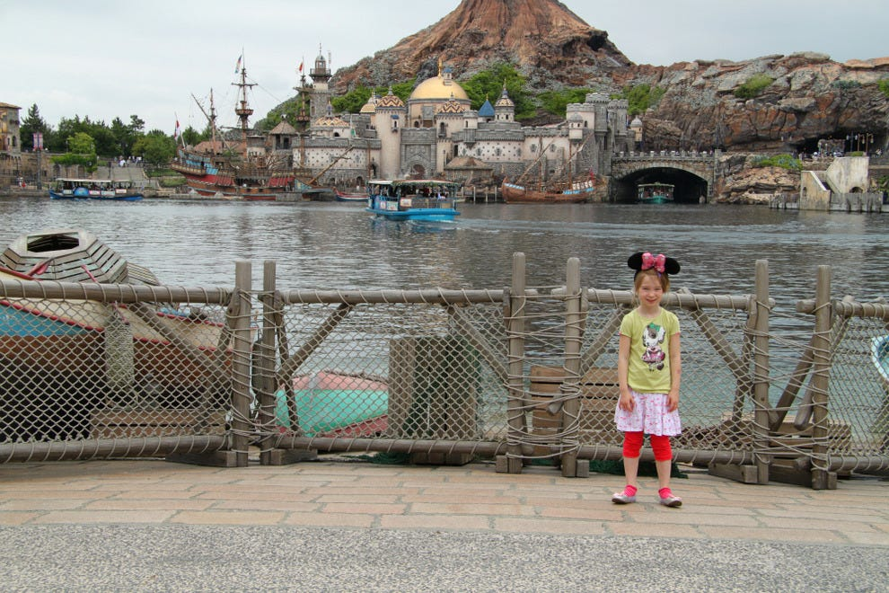 The giant lake just after the entrance to Tokyo DisneySea