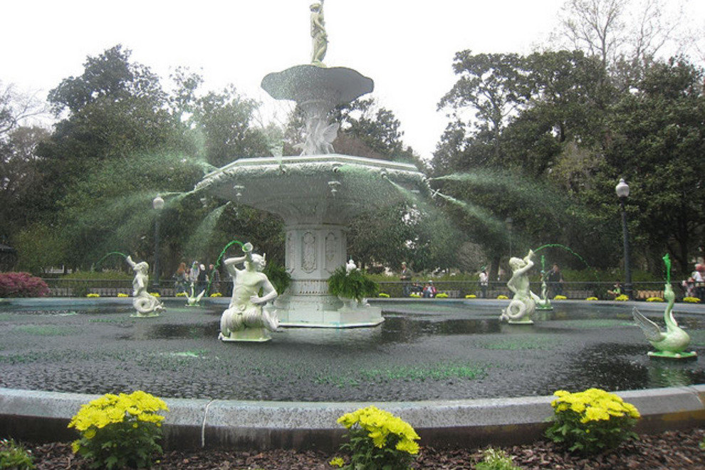 Forsyth Park fountain dyed green