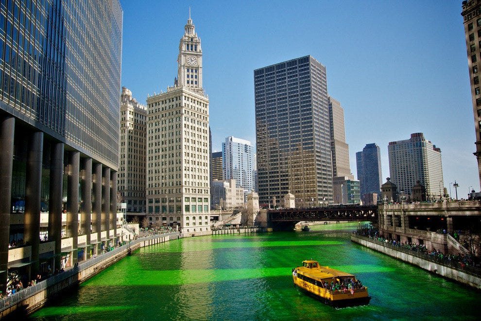 Green Chicago River for St. Patrick's Day