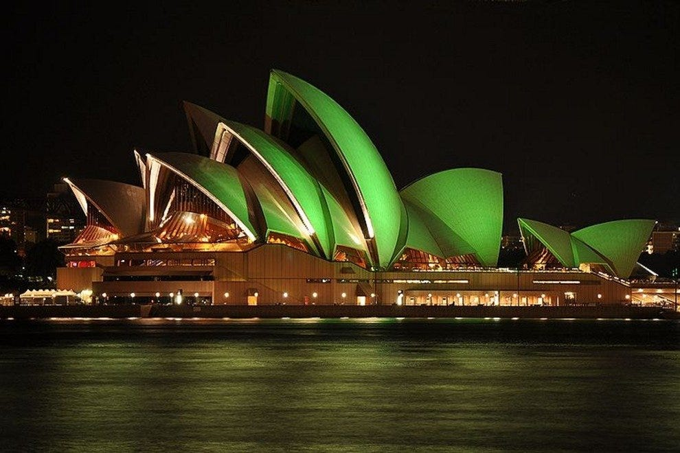 Sydney Opera House in green