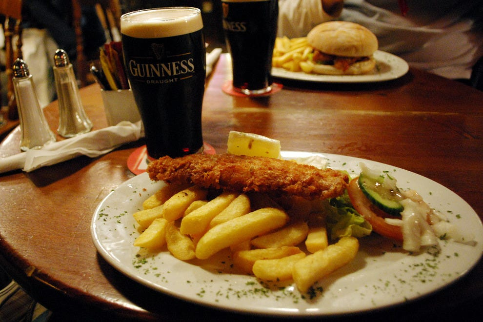 Fish and chips with a Guinness