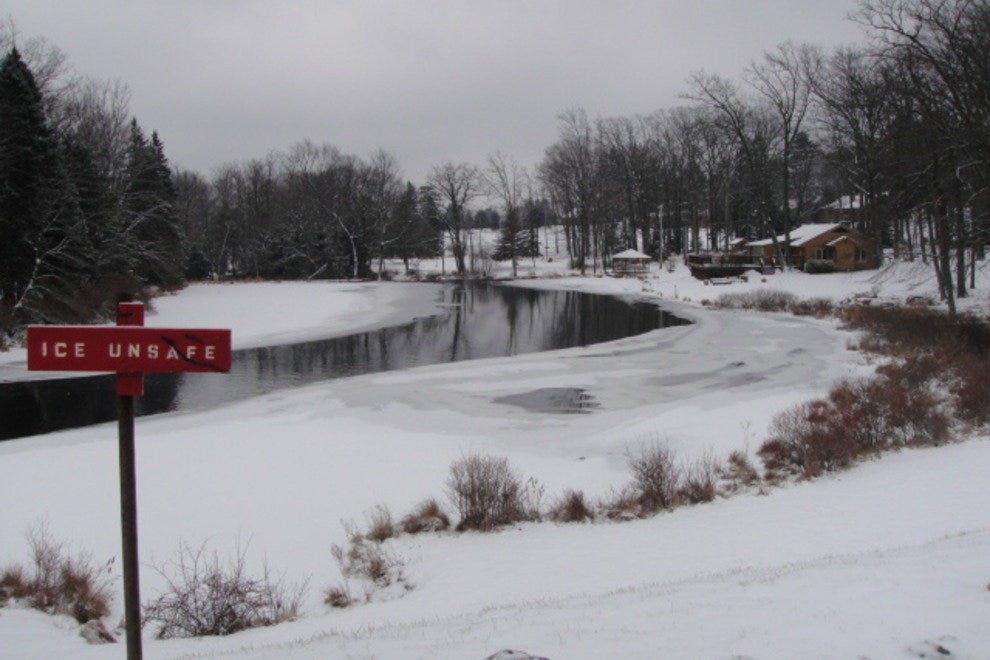 A semi-frozen lake in the Pocono Mountains