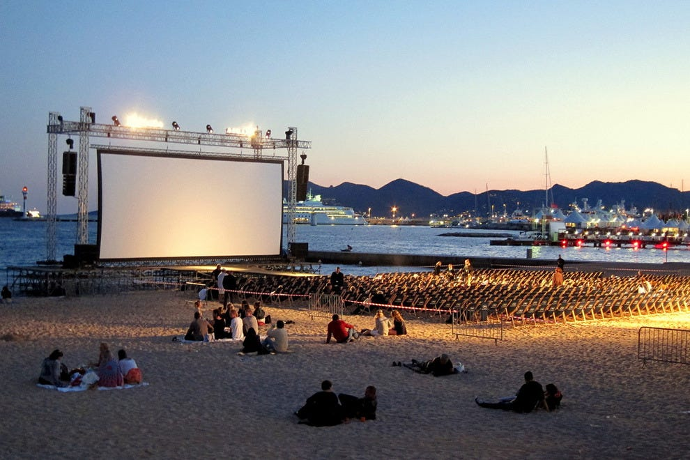 Movie on the beach in Cannes