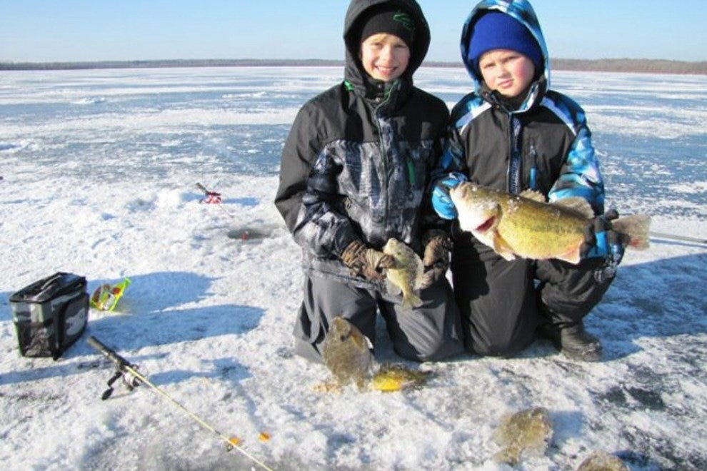 Nearby Rainy Lake perfect for ice fishing in winter