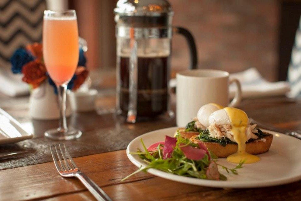 Eggs benedict with local rock crab. Anchor serves locally roasted Handlebar Coffee Roasters coffee