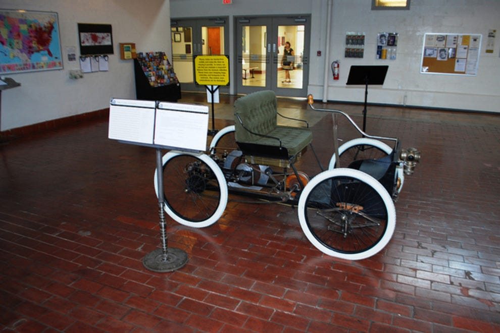 An example of the quirky nature of many of the cars in the collection: A 1896 Ford Quadricycle