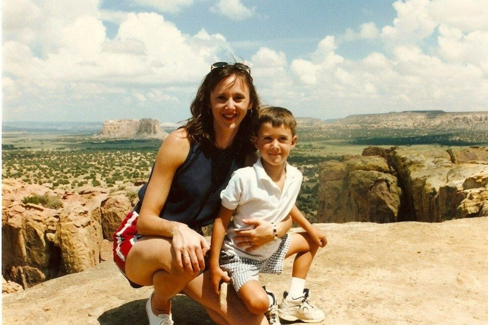 The author and her son visiting Acoma Pueblo