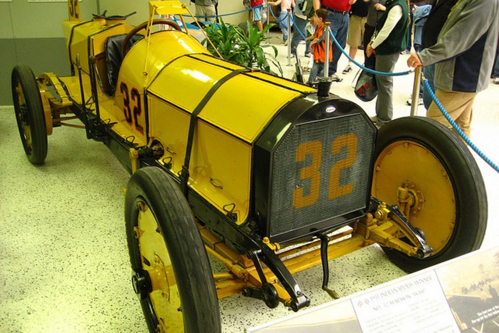 The winning car of the first Indy 500 in 1911 on display as well as over thirty other winners of the event