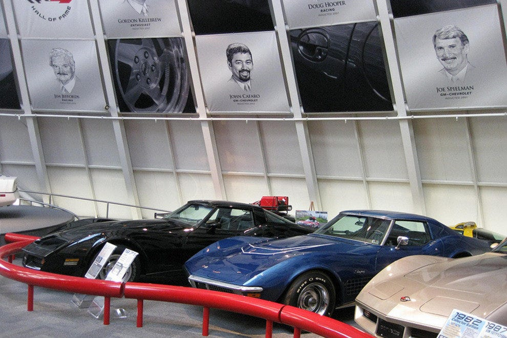 A collection of Corvette Stingrays as part of their own exhibit