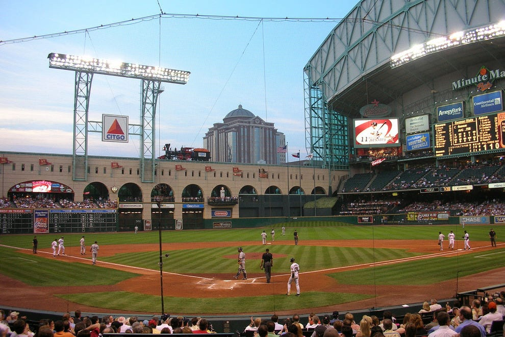 Astros playing a night game at Mintue Maid Park