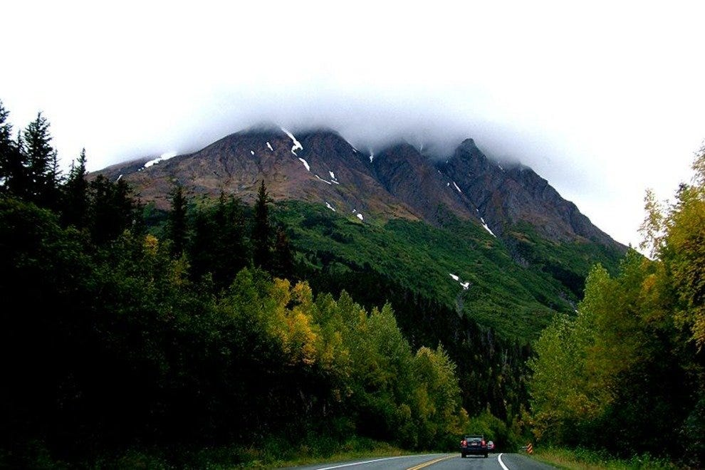 Part of the Seward Highway traveling between the Kenai Mountains