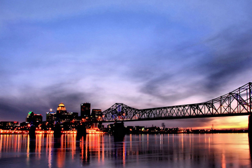 Louisville skyline at dusk