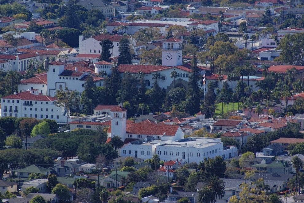 A bird's eye view of the famous red tile roofs of Santa Barbara