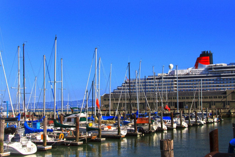 Cunard's Queen Victoria, Docked at San Francisco's Embarcadero, Prepares to Depart for Hawaii and Australia