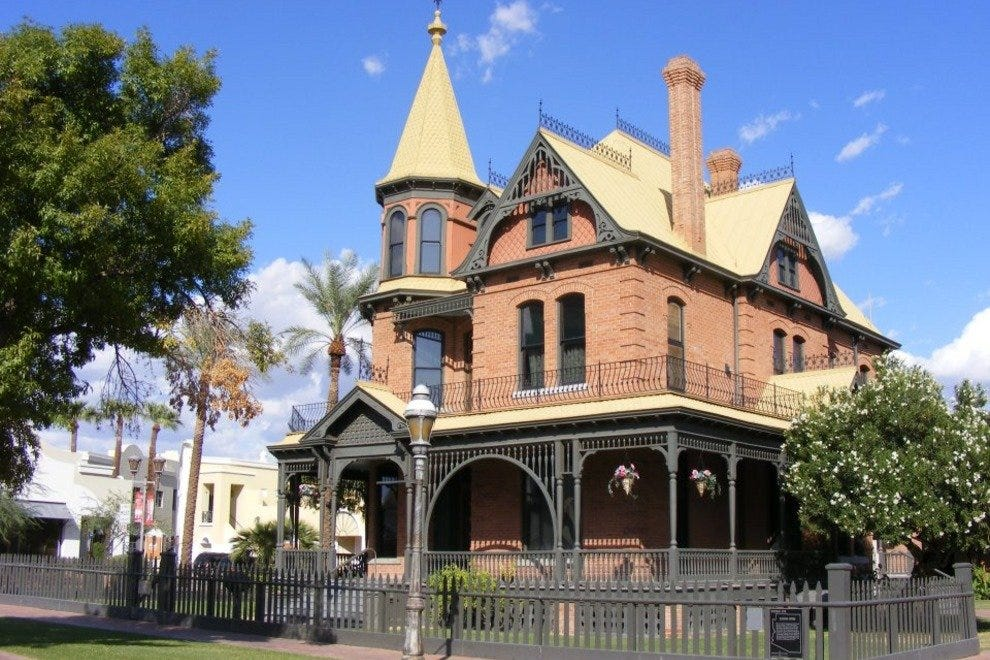 The Rosson House is a well-preserved 1890 Queen Anne-Eastlake home located inside Phoenix's historic Heritage Square.