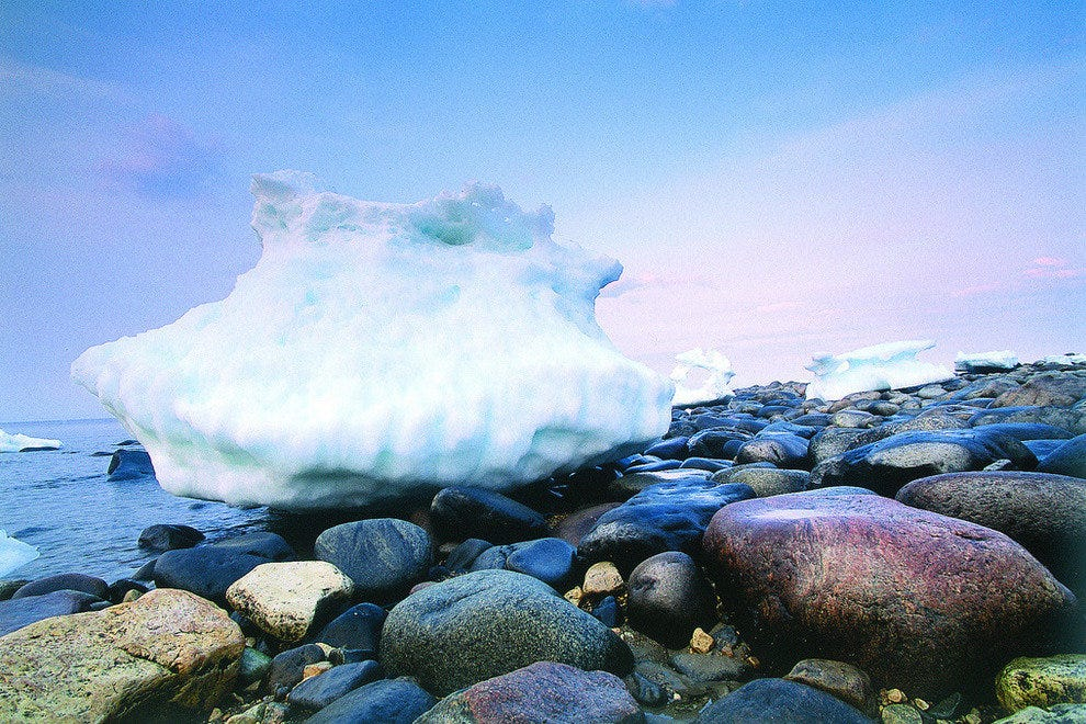 Beached icebergs in Manitoba