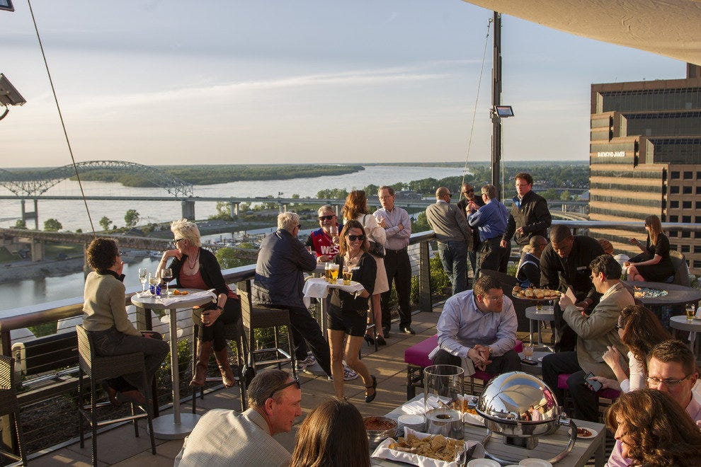 The Twilight Sky Terrace at the Madison Hotel in downtown Memphis is a great place to toast the river