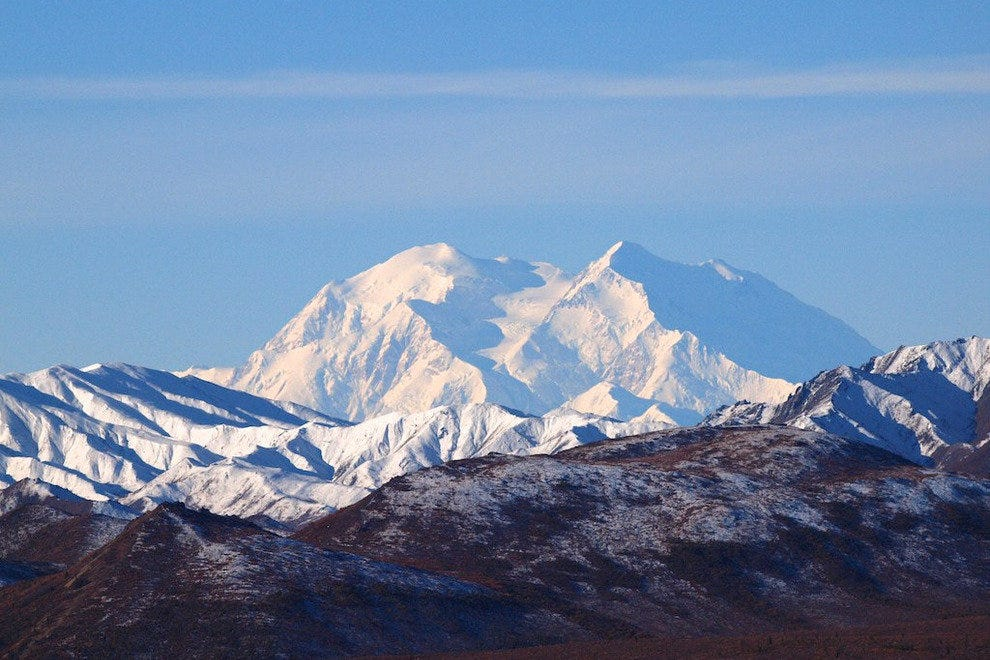 View of snow-covered Mount McKinley