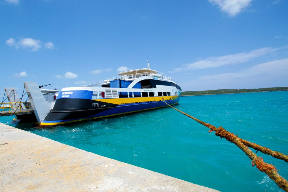 A ferry docked in the Bahamas
