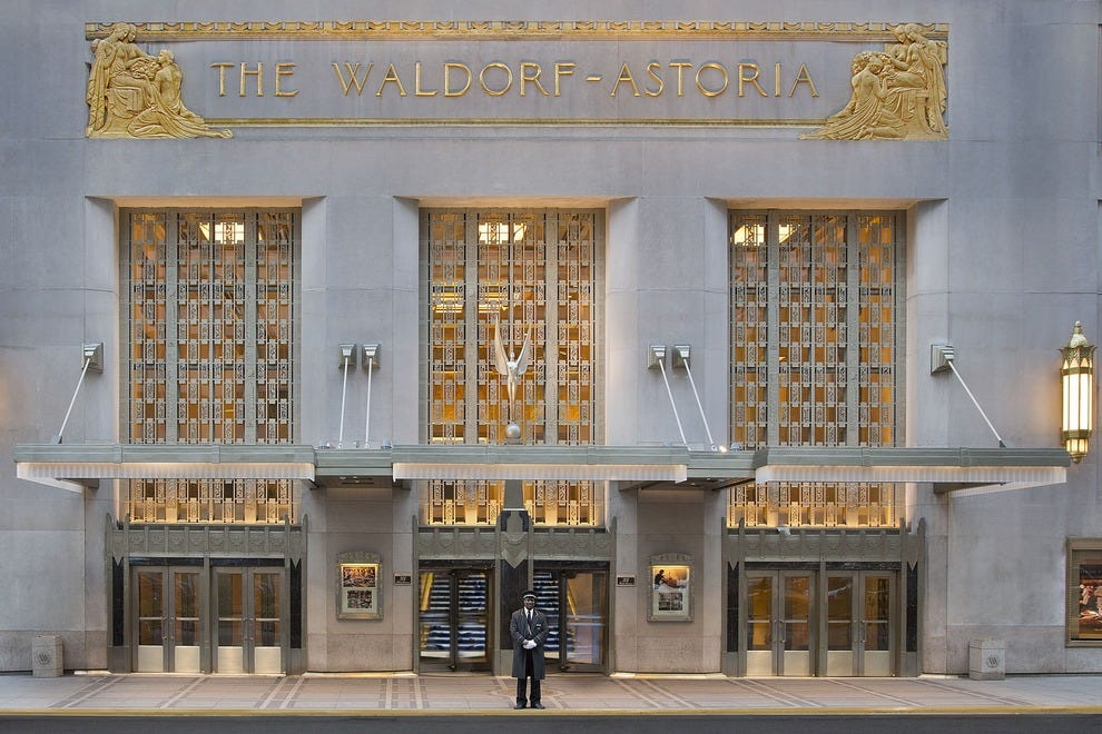 Front entrance to the Waldorf Astoria