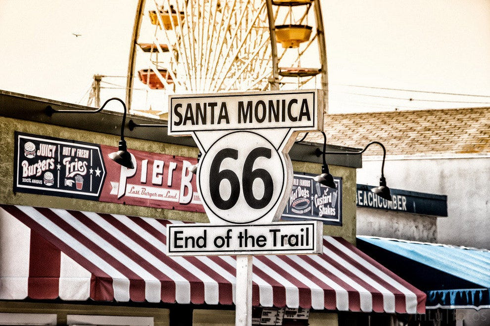 End of the Trail sign at Santa Monica Pier