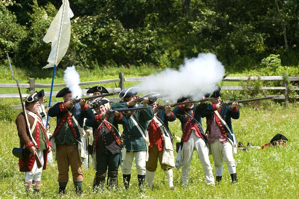 Revolutionary War re-enactors at Old Sturbridge Village