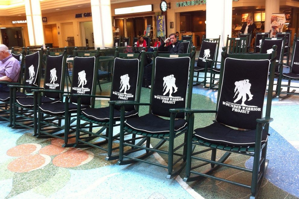 The waiting lounge at friendly JAX holds countless rocking chairs
