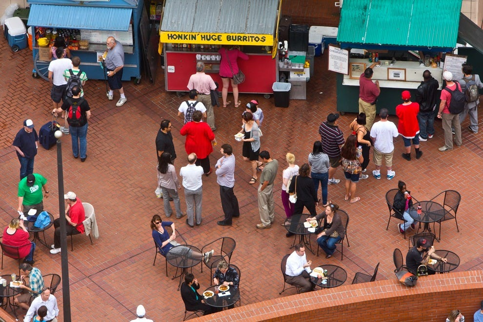 Food carts in Pioneer Courthouse Square