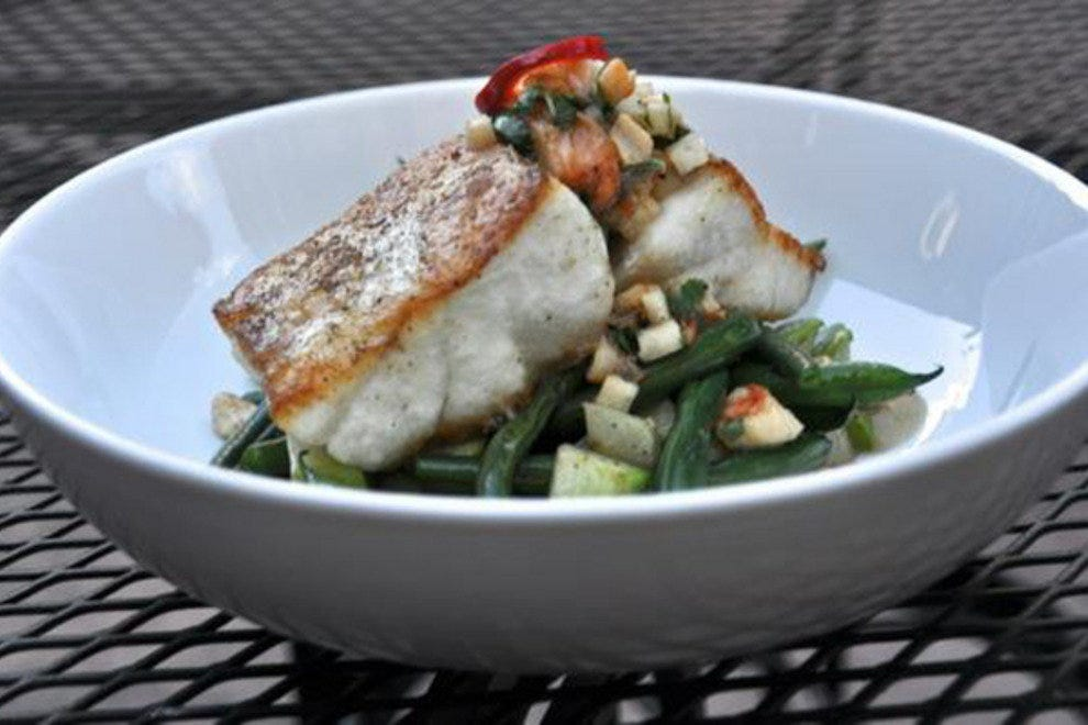 Corvina with green beans and shrimp-jicama-ghost chili salsa