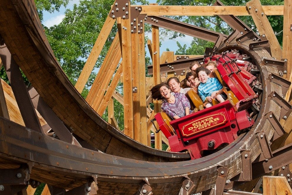 Get your thrills on Silver Dollar City's Outlaw Run wooden coaster.