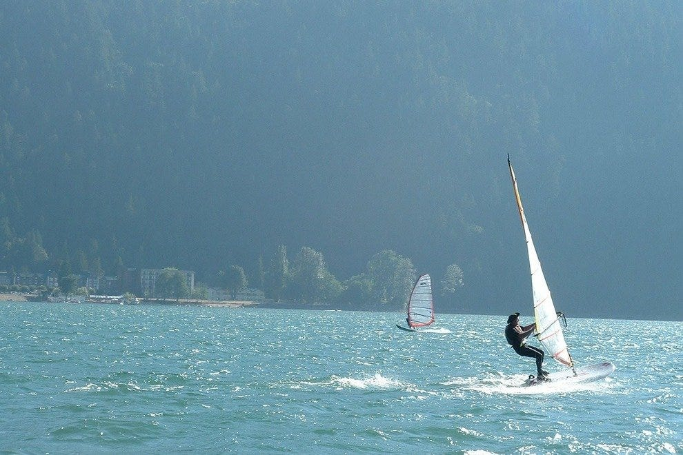 Wind surfing on Harrison Lake