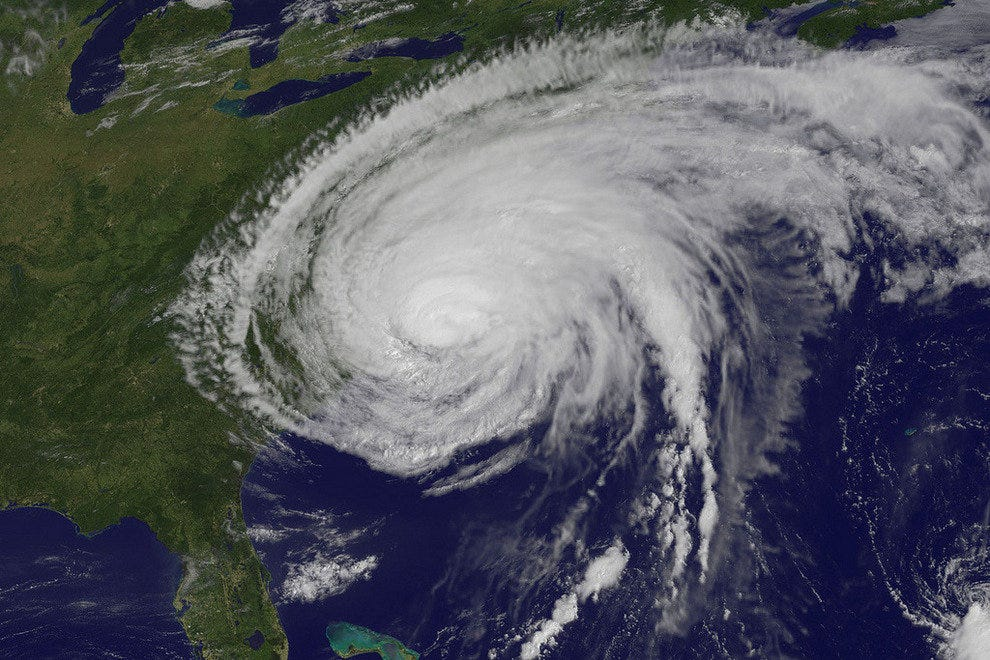 Hurricane Irene making landfall on the East Coast