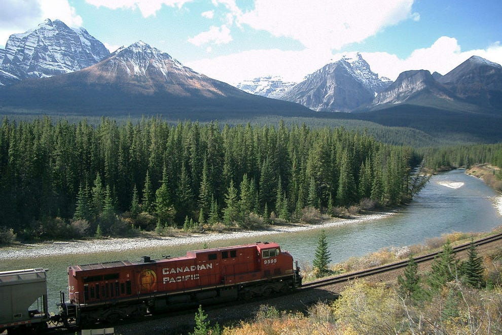 Canadian Pacific railway passes through the Canadian Rockies.
