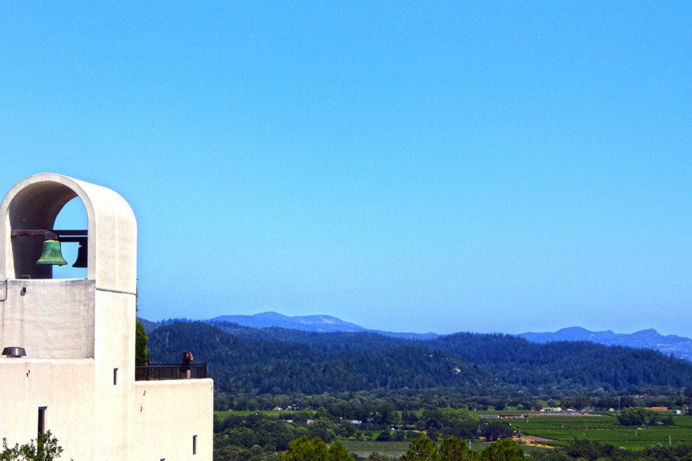 Scenic view over the terrace of Sterling Wineries, Napa.