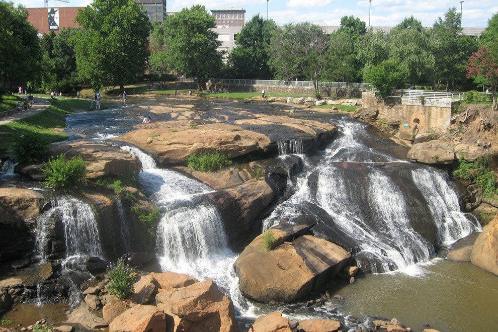 Downtown Greenville's waterfall