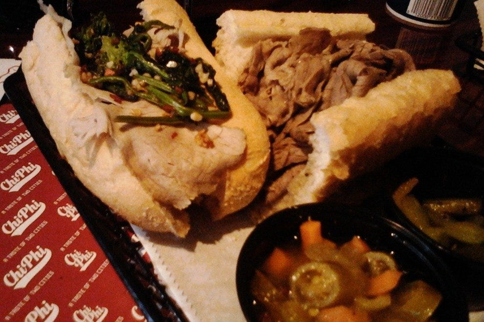 A taste of two cities: roast pork and Italian beef with hot and sweet peppers on the side.