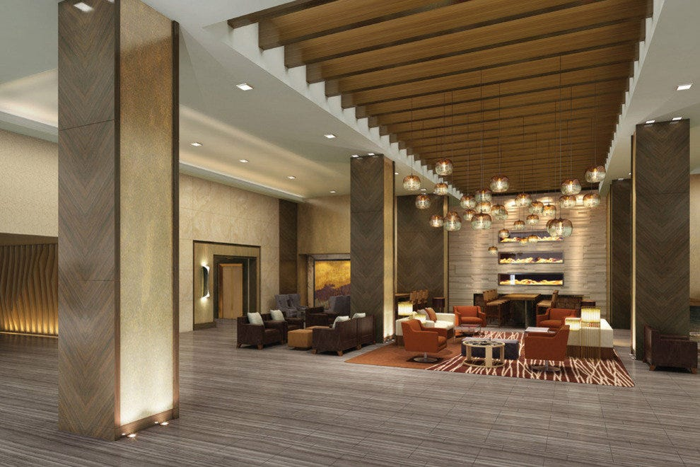 The new lobby, part of the redesign of Grand Hyatt Denver