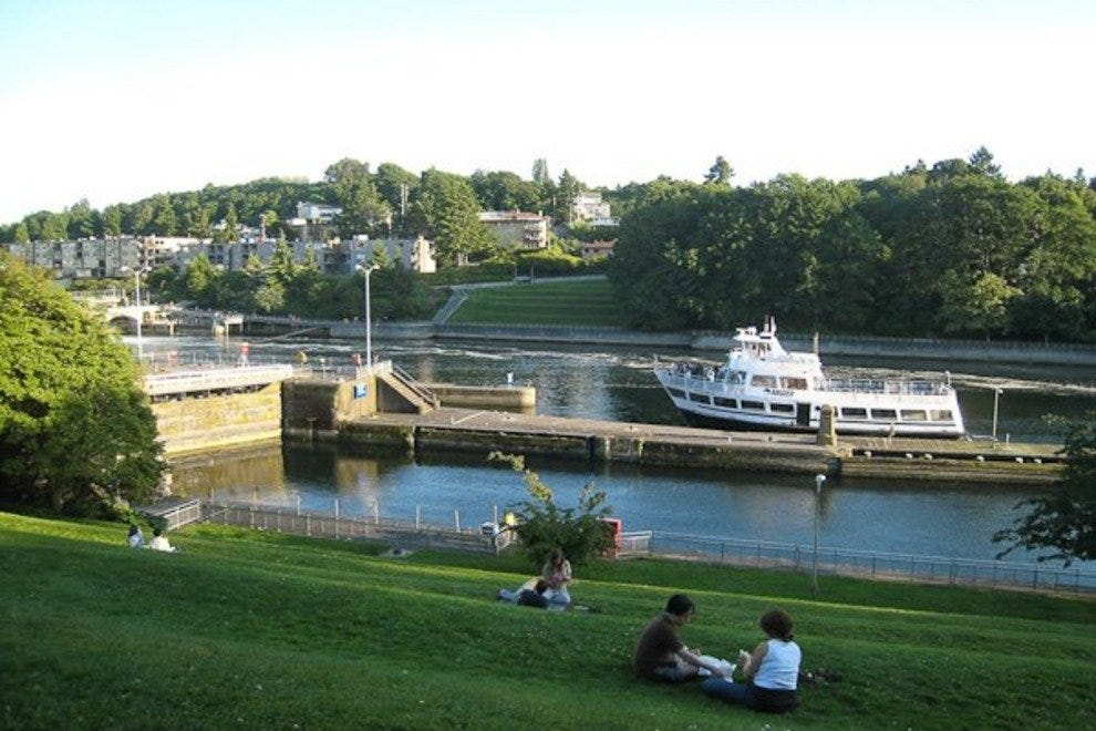 At any time of year, the Hiram M. Chittenden Locks is one of Seattle neighborhood Ballard's most popular attractions