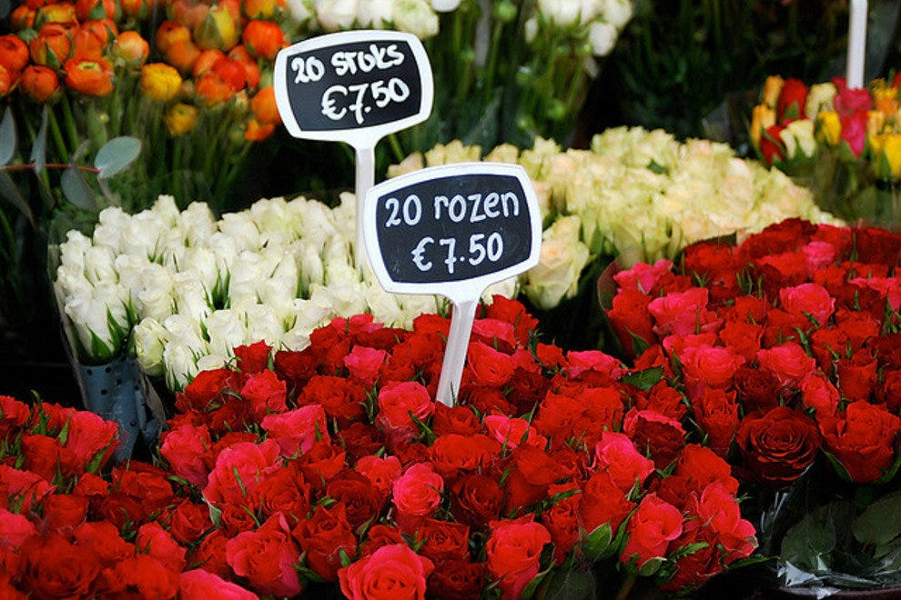 Roses for sale at the Bloemenmarkt, the worlds only floating flower market