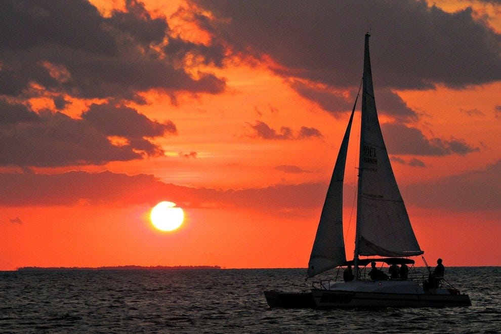 Sunset in Key West, as viewed from Danger Charters' Wind and Wine Cruise