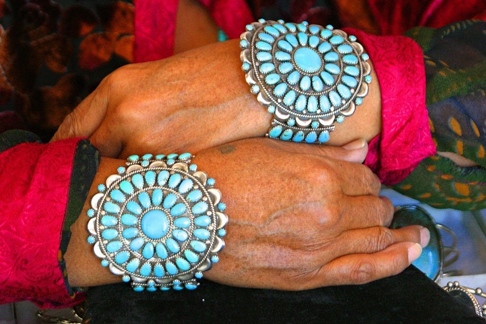 Traditional needlepoint Native American turquoise bracelets