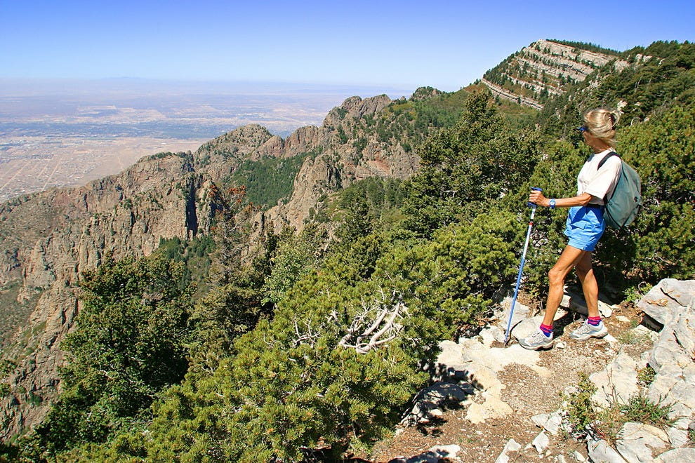 Hiking atop the 10,378 ft. crest of Sandia Peak