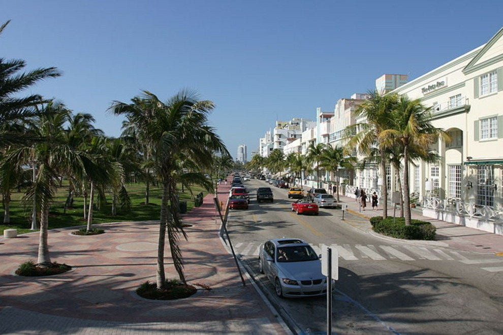 Ocean Drive and its restored Art Deco hotels.
