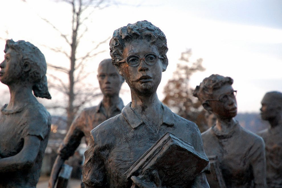 Statues of the Little Rock Nine at Central High School
