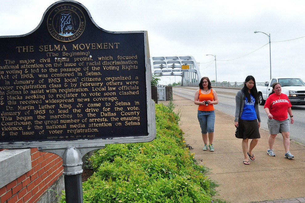 Selma Movement marker on the Edmund Pettus Bridge