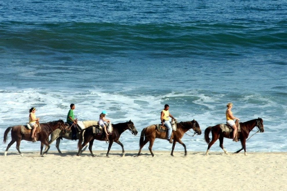 In Mexico, you can ride a horse through the surf.