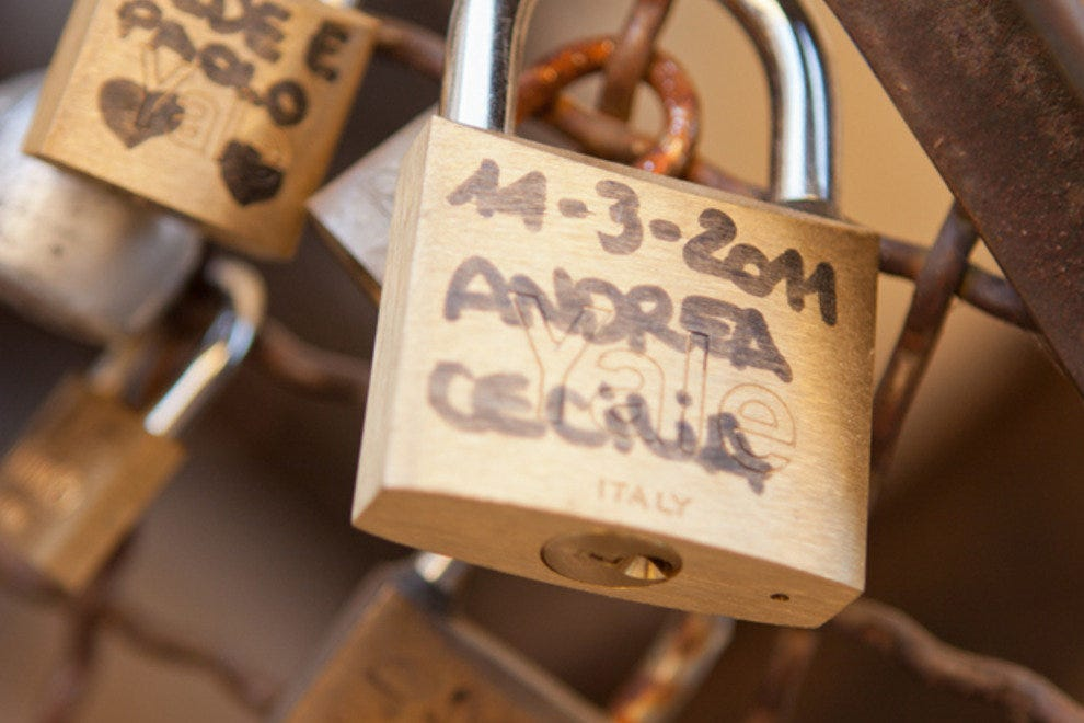 "Details from one of hundreds of ""love padlocks"" found on bridges in Rome"