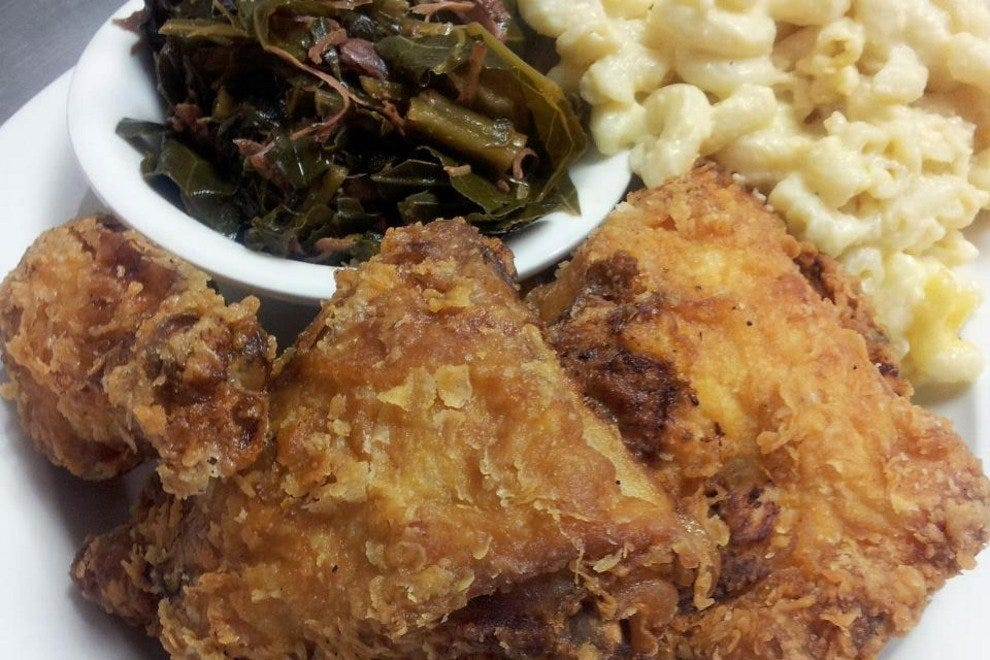 Fried chicken, mac and cheese, and collards are just some of the delicious Southern fare you'll find at Annie O's.
