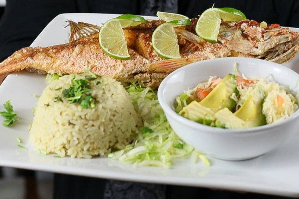 The Huachinango--a dish featuring whole red snapper--is one of the more traditional Mexican dishes available at Tequila's Town.